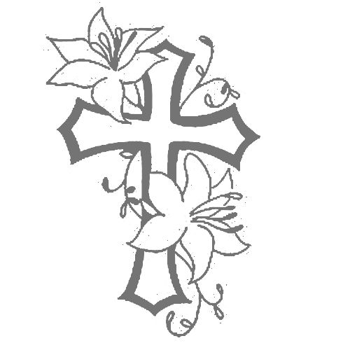 Crosses With Flowers Drawing