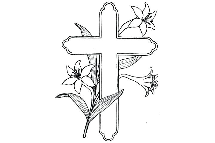 Crosses with flowers drawing at free for for Coloring pages of crosses and roses