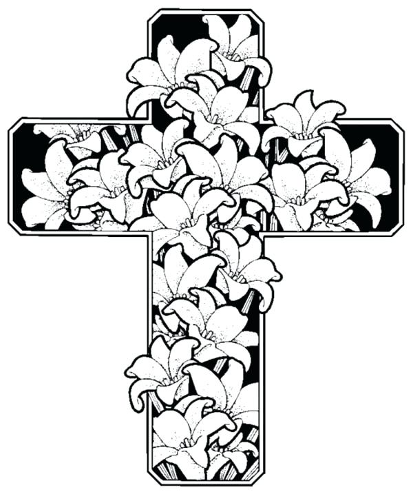 600x717 Awesome Coloring Pages Crosses Free Download Cross With Flowers