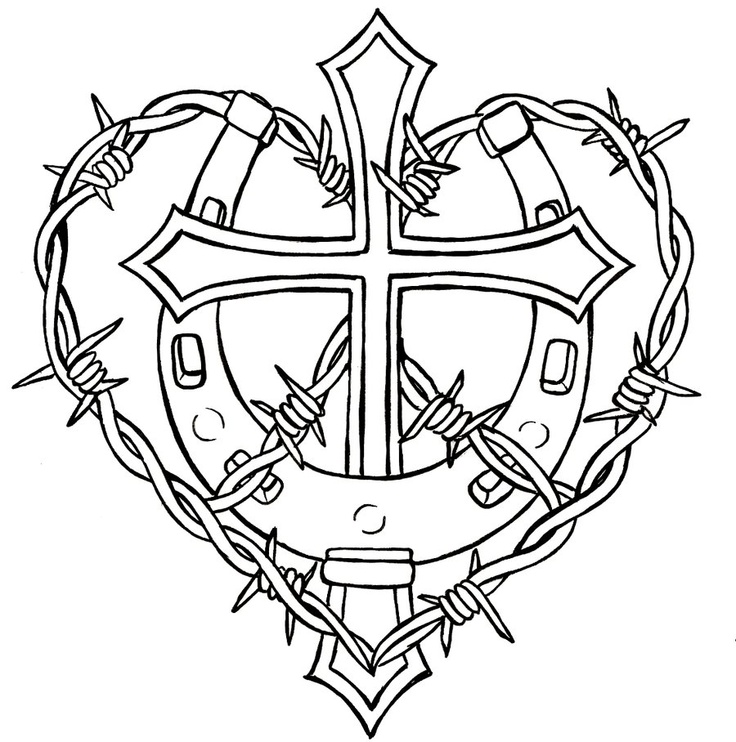 Crosses With Roses Drawing at GetDrawings | Free download