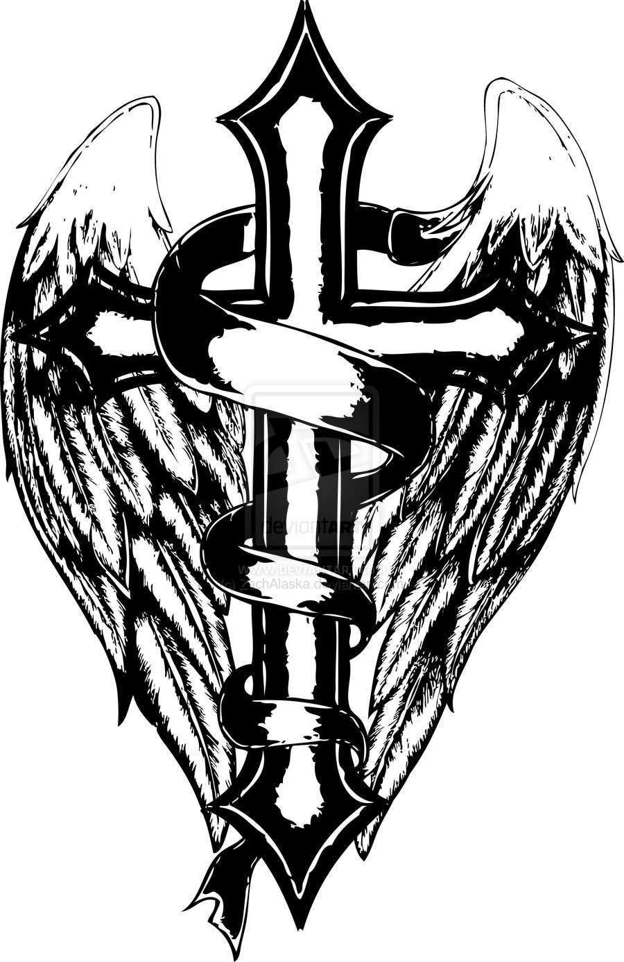 Crosses With Wings Drawing at GetDrawings.com   Free for personal ...