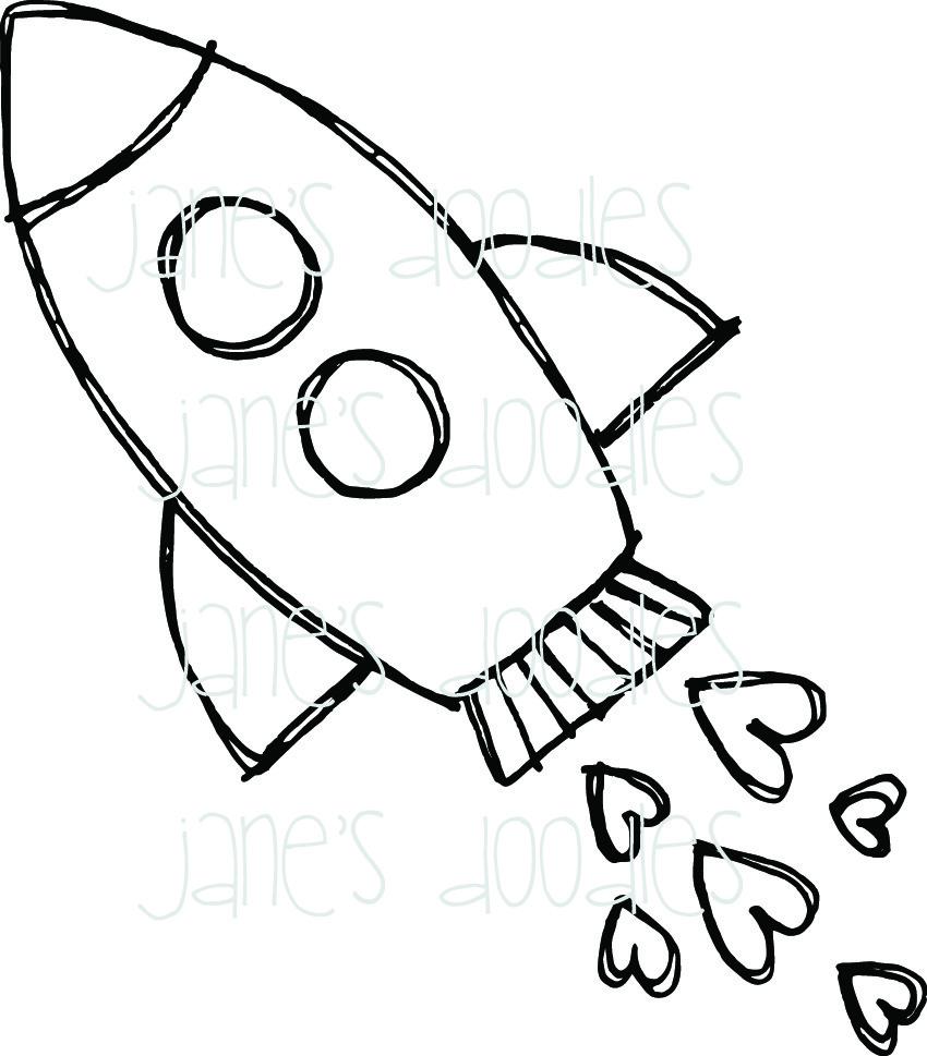 850x969 Rocket Coloring Page