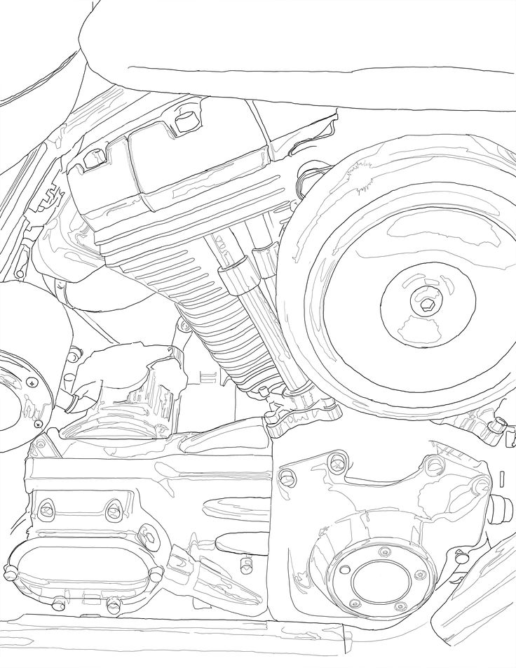 736x952 Motorcycle Engine Close Up. Adult Coloring Pages
