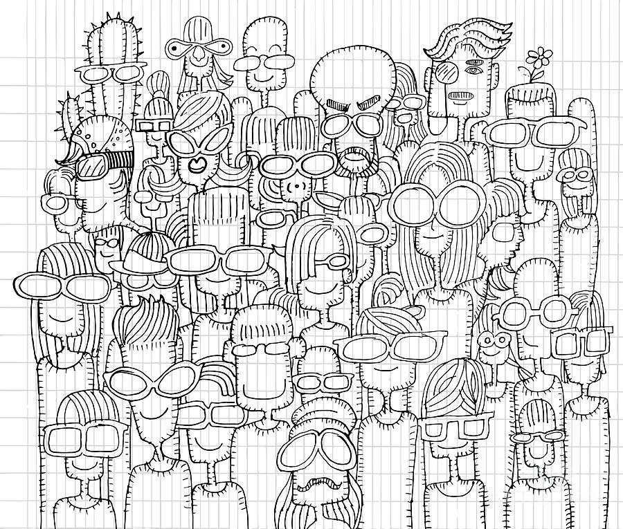 900x765 Hipster Hand Drawn Doodle Crowd Of Happy People In Sunglasses