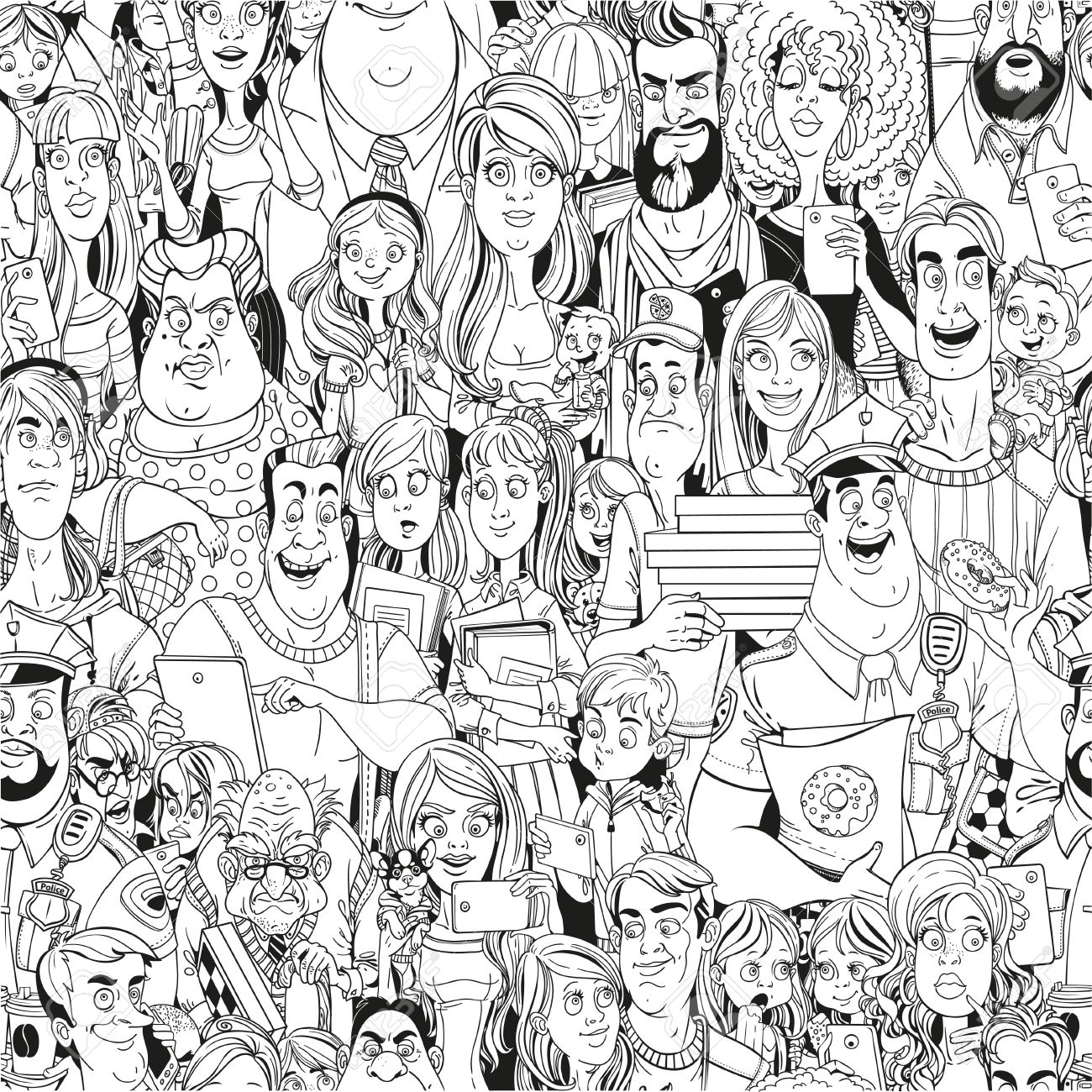 1300x1300 Seamless Pattern From Crowd Of People With Electronic Gadgets