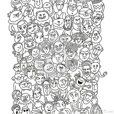 400x400 Funny Pattern Crowd People Faces Bubble Shape Seamless Background