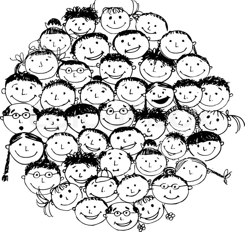 800x757 Crowd Of Funny Peoples, Sketch For Your Design Stock Vector
