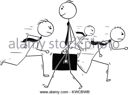 429x320 Hand Drawn Illustration Of A Leader And Crowd Stock Photo, Royalty