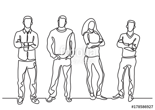 500x354 Continuous Line Drawing Of Group Of Positive People Stock Image
