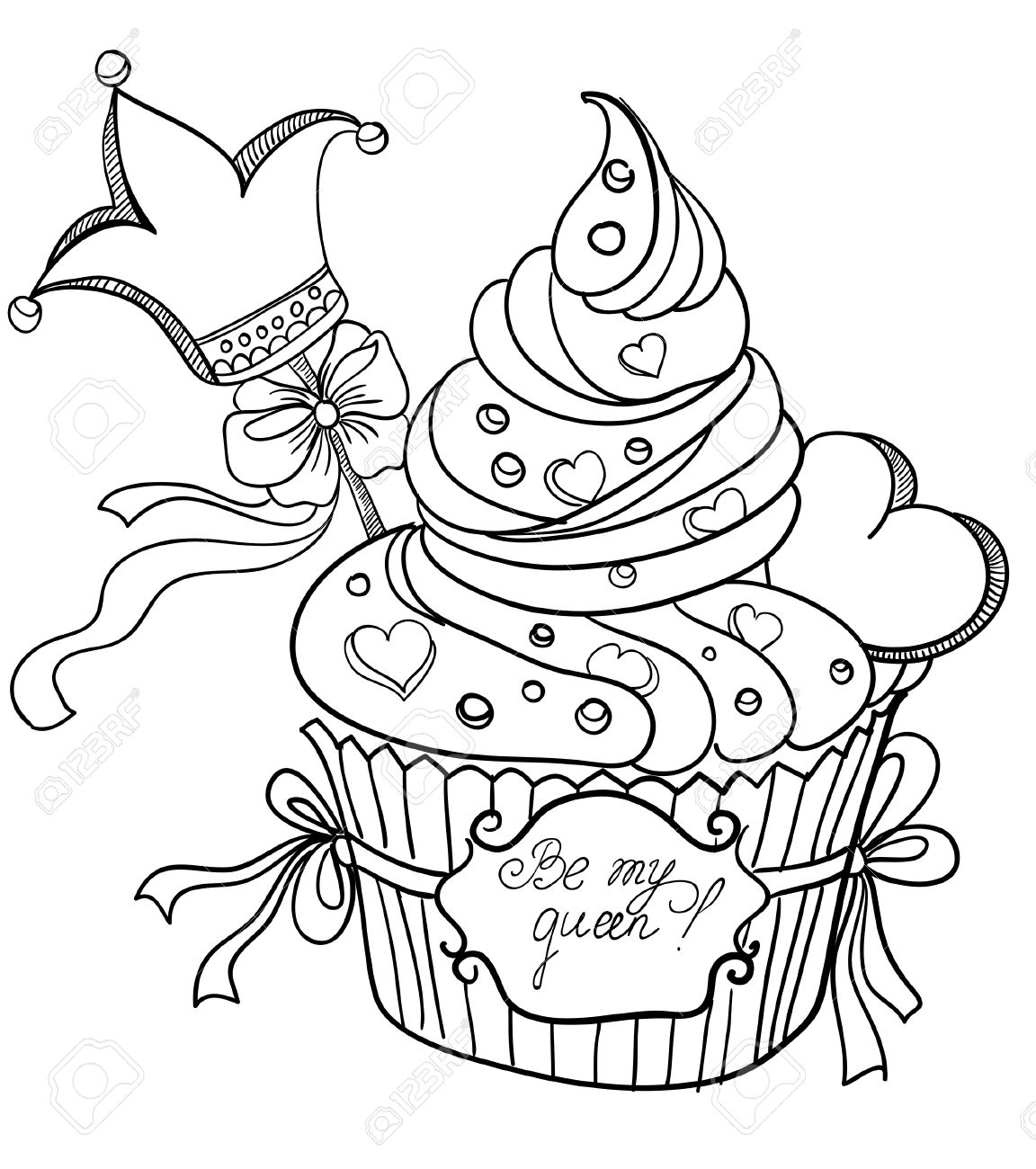 1152x1300 Vector Hand Drawing Cupcake With Crown And Hearts Royalty Free