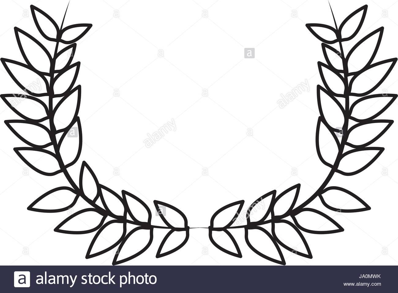 1300x960 Drawing Crown Half Flower Natural Decoration Laurel Leaves Stock