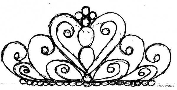 600x305 Royal Icing Tiara Template Drawing