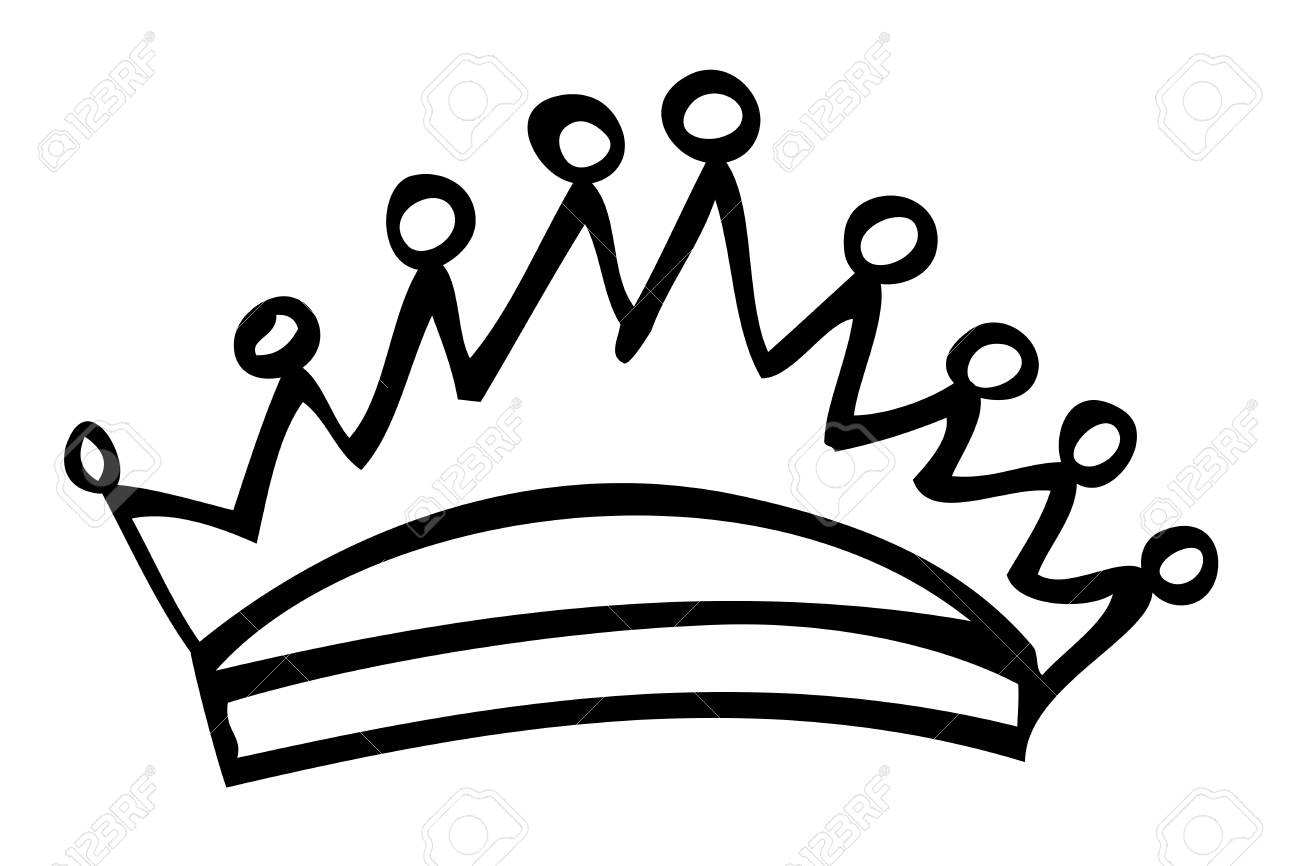 1300x866 Hand Draw Sketch Of Crown, Isolated On White Stock Photo, Picture