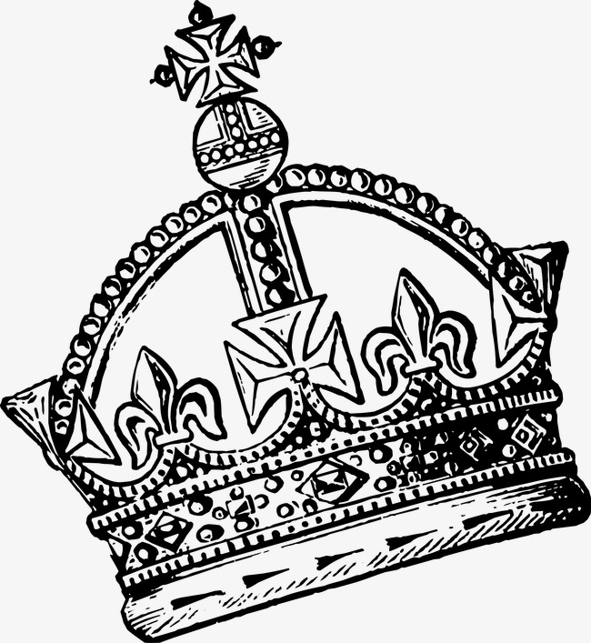 650x707 Hand Painted Crown Vector, Black And White Painting, Hand Painted