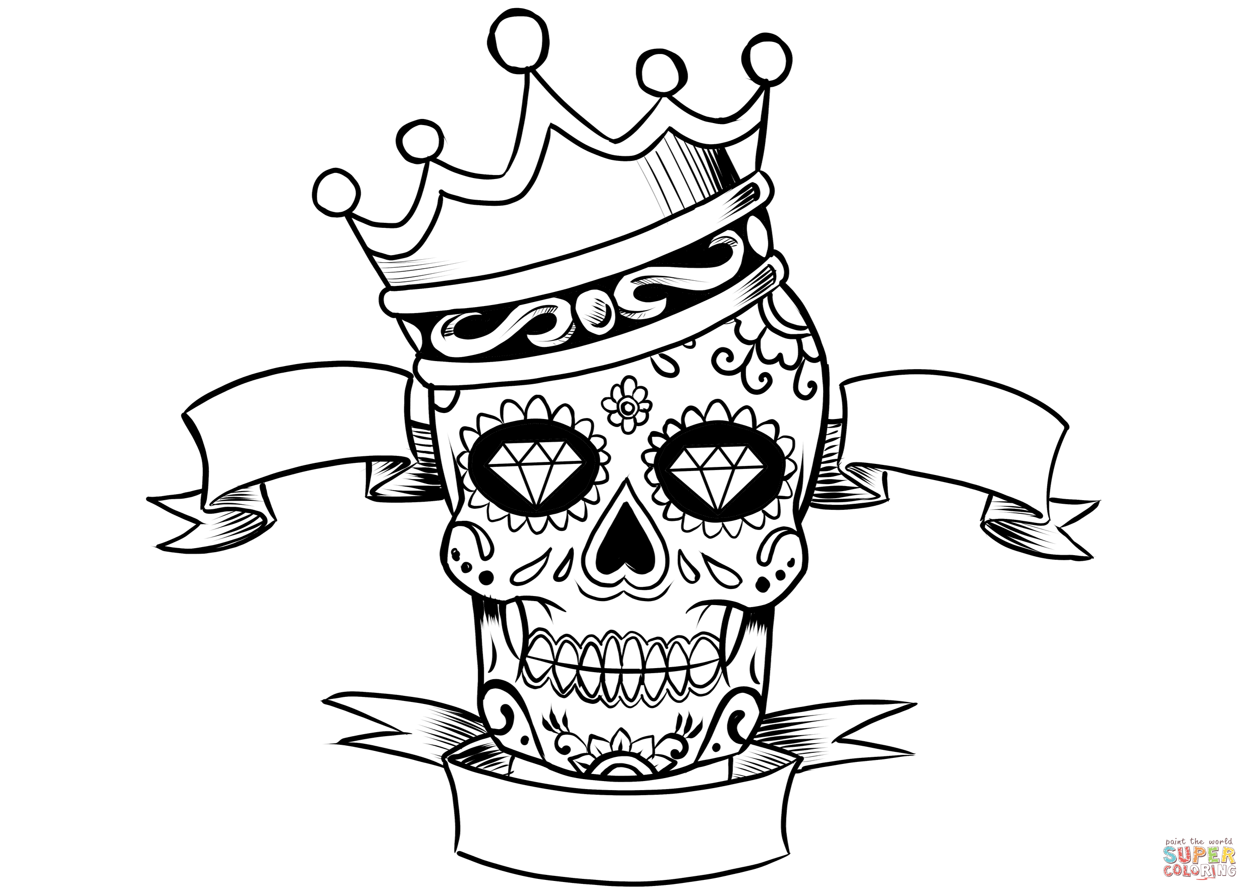 2474x1767 Sugar Skull With Crown Coloring Page Free Printable Coloring Pages