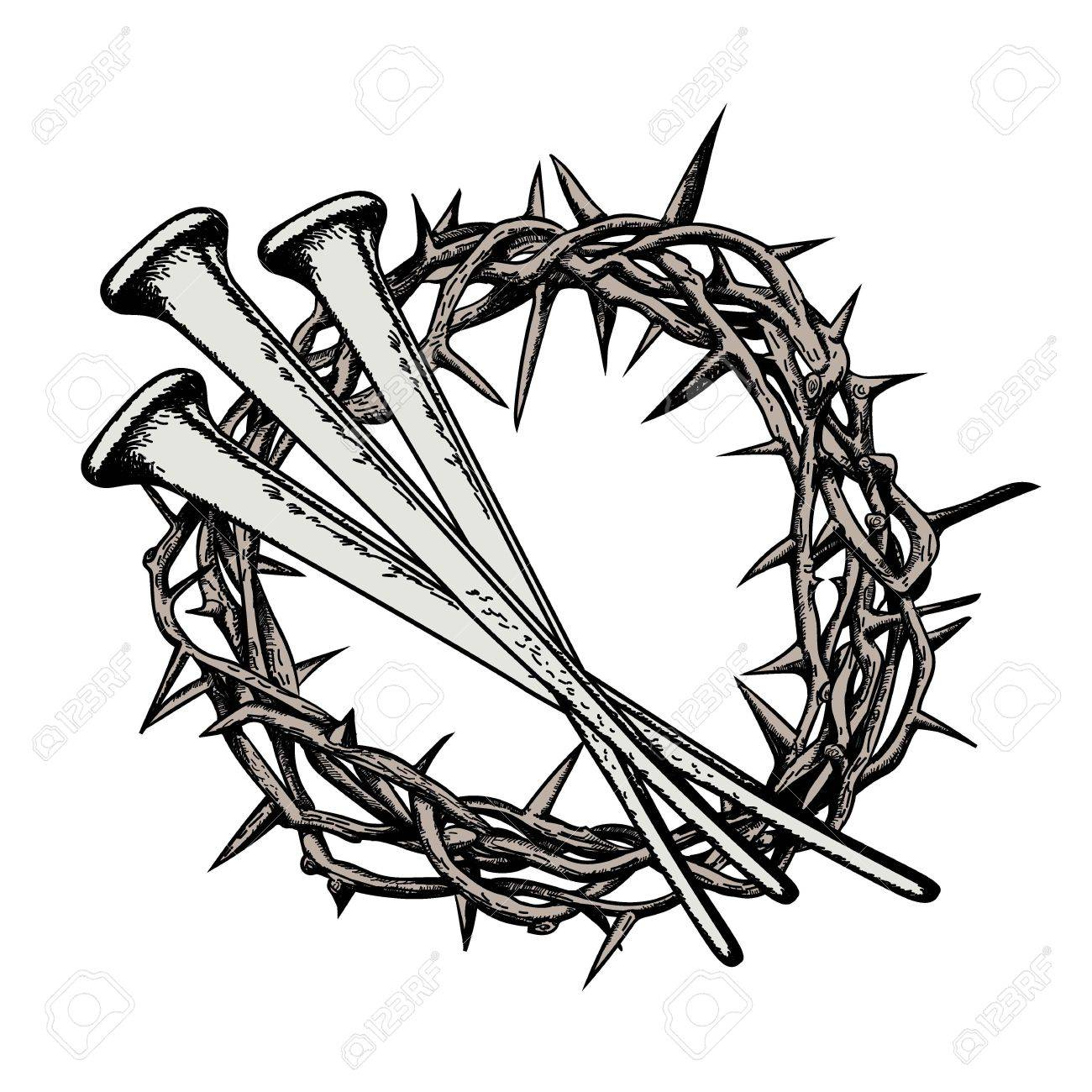 1300x1300 The Crown Thorns With The Nails Jesus Christ. Symbols