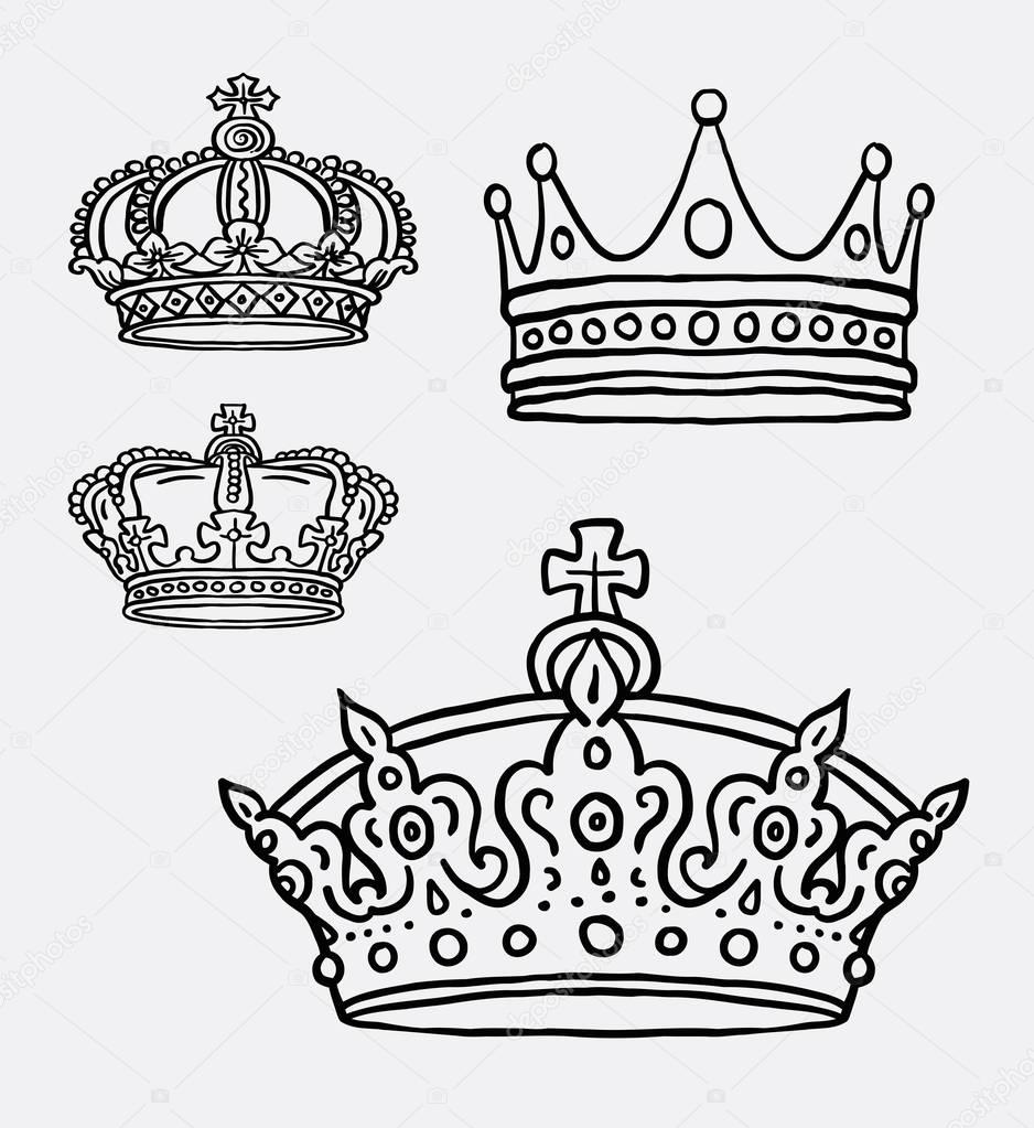 938x1023 Crown, The King Symbol Line Art Drawing Stock Vector
