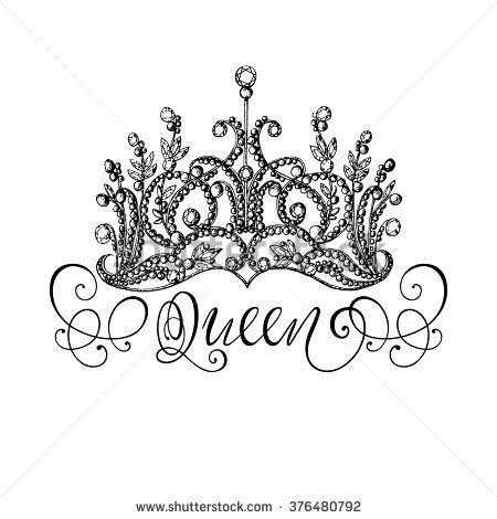 450x470 Elegant Hand Drawn Queen Crown With Lettering. Graphic Black