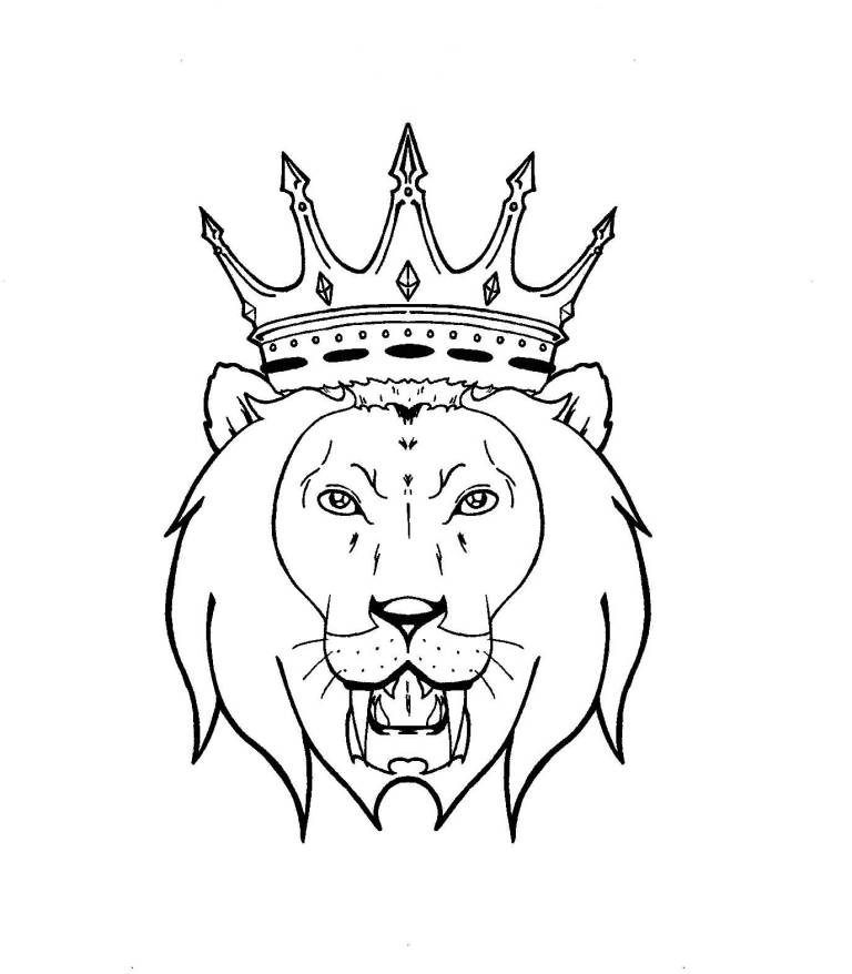 768x878 Lion With Crown Tattoo Design On Paper