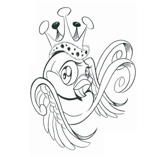 500x500 Swallow Crown Tattoo Design
