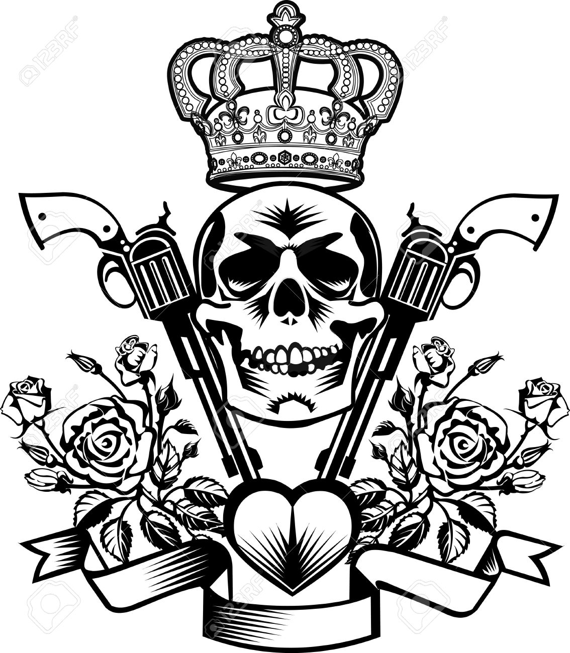 1134x1300 Tattoo Skull, Guns And Roses With Crown Royalty Free Cliparts