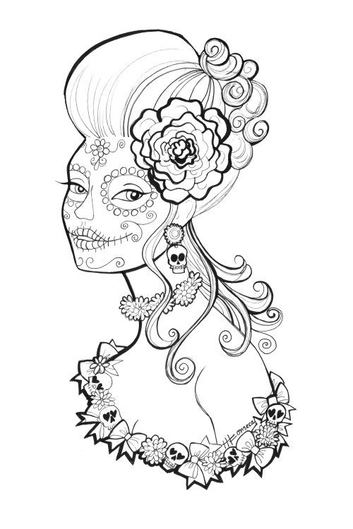 500x750 Skull Queen Crown Coloring Page