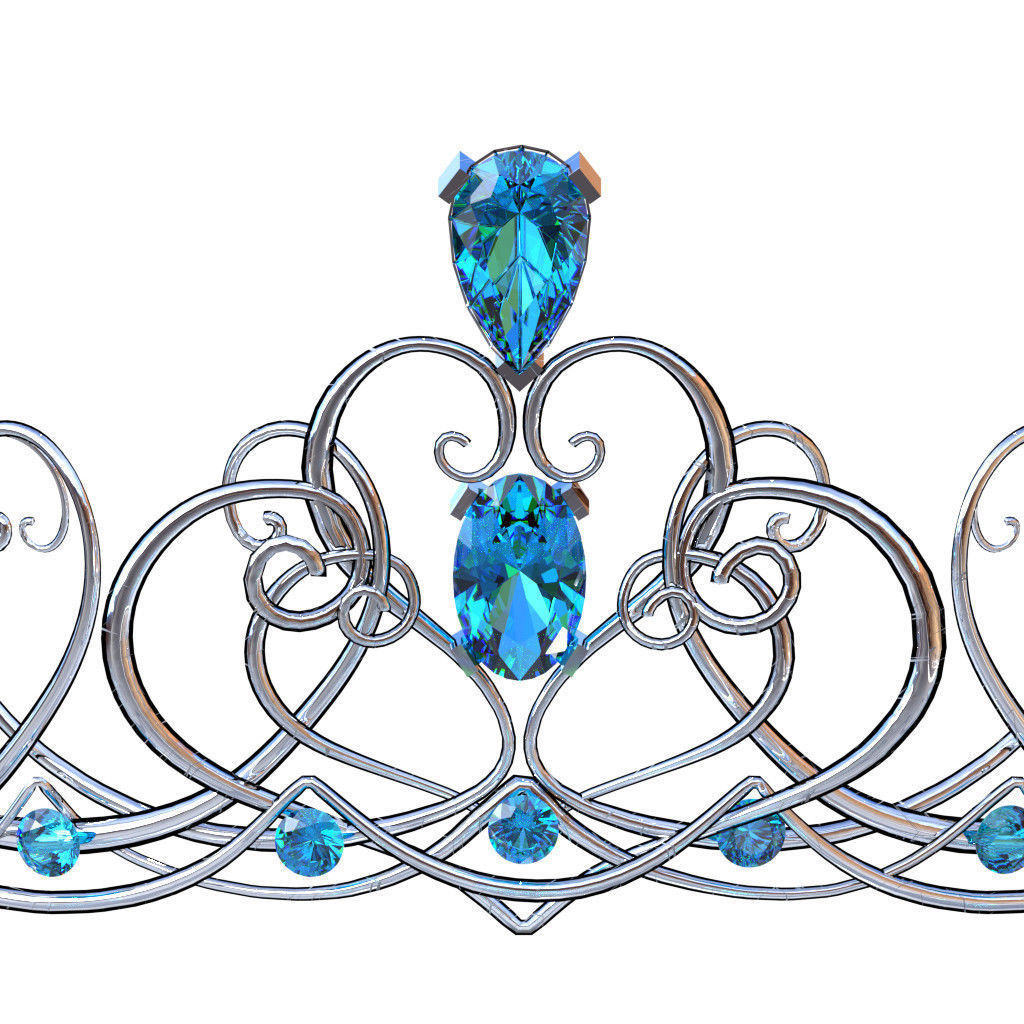 1024x1024 3d Model Silver Swirl Crown With Blue Jewels Cgtrader