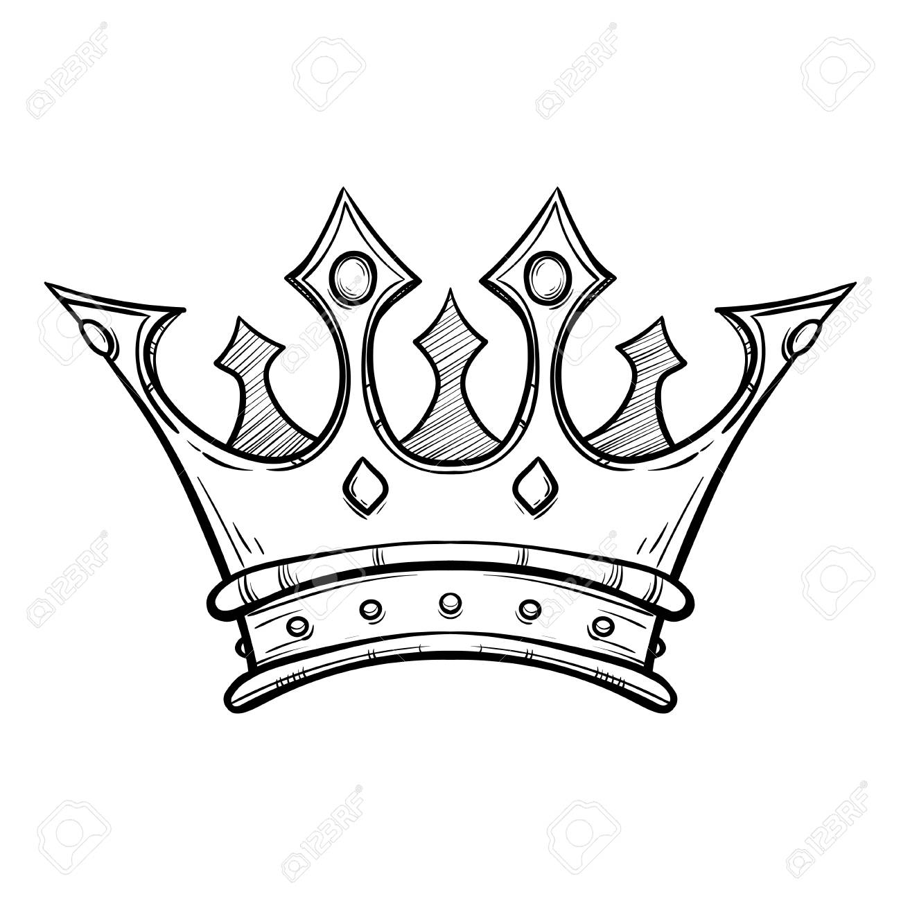 1300x1300 Hand Drawn King Crown Royalty Free Cliparts, Vectors, And Stock