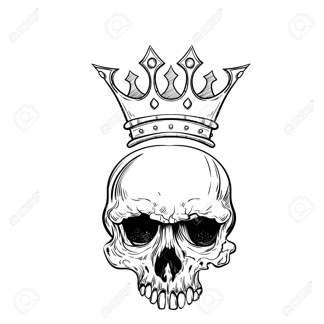 1300x1300 Hand Drawn Sketch Skull With Crown Royalty Free Cliparts, Vectors