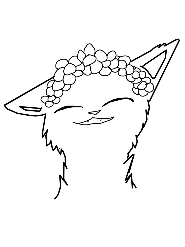 774x1032 Lineart Flower Crown Cat (Male Version) By Fab Cats Studios