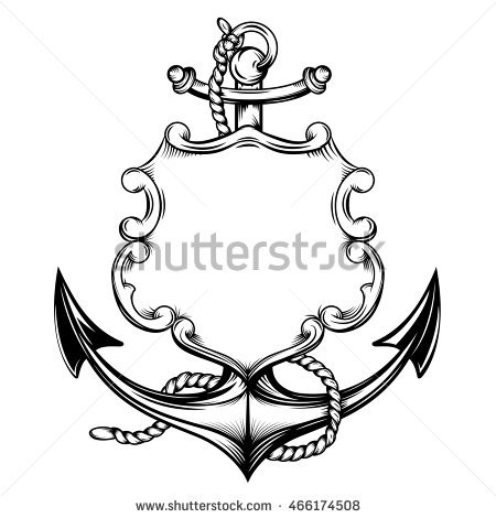 450x470 Anchor Clipart Line Drawing