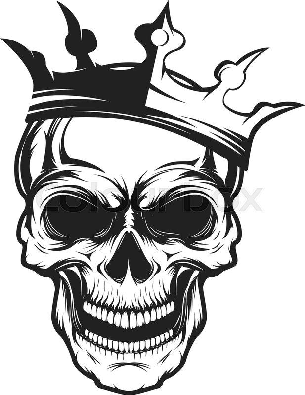 617x800 Skull With Crown. Design Element For Emblem, Badge, Sign, T Shirt