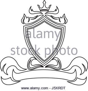 310x320 Shield Crown Decoration Royal Heraldic Ornament Line Stock Vector