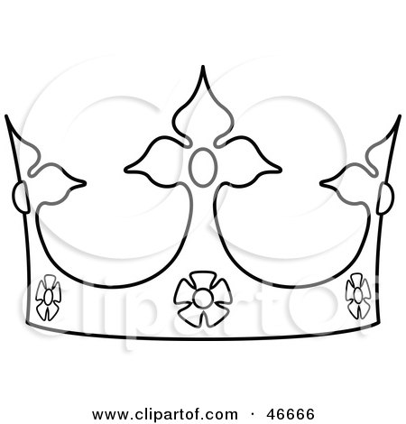 450x470 Clipart Illustration Of A Black And White Crown Outline By Dero