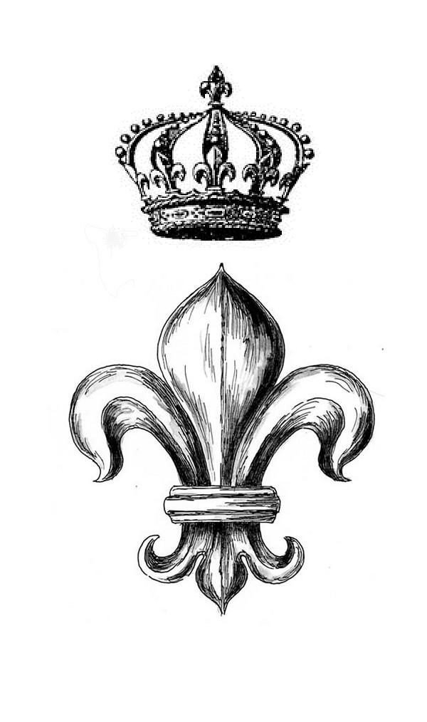 600x1014 Drawn Crown Fleur De Lis