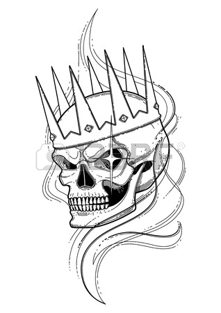 318x450 Graphic Skull With Fearful Smile In The Crown Surrounded By Smoke