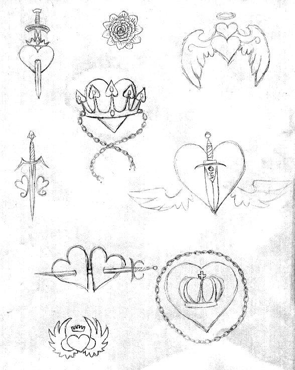 588x736 Heart Crown Knife Tattoo Sktch By Amytaluuri