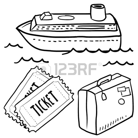 450x450 Doodle Style Cruise Or Vacation Sketch In Vector Format Set