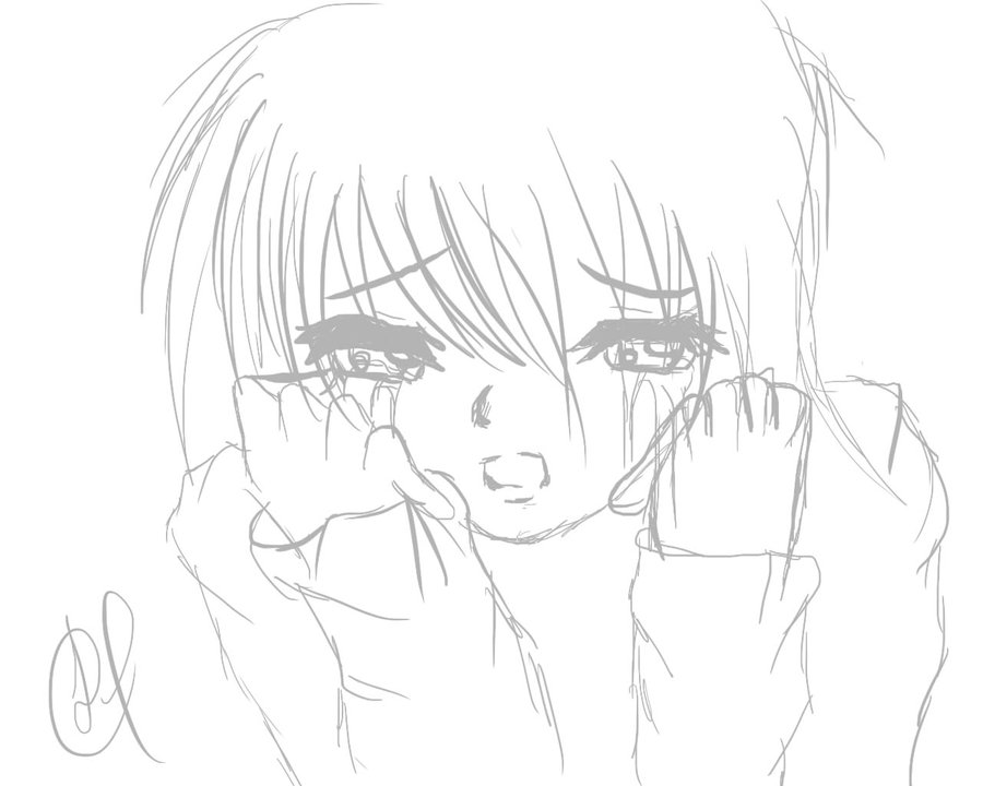 900x720 Crying Girl By Malevolent Cat