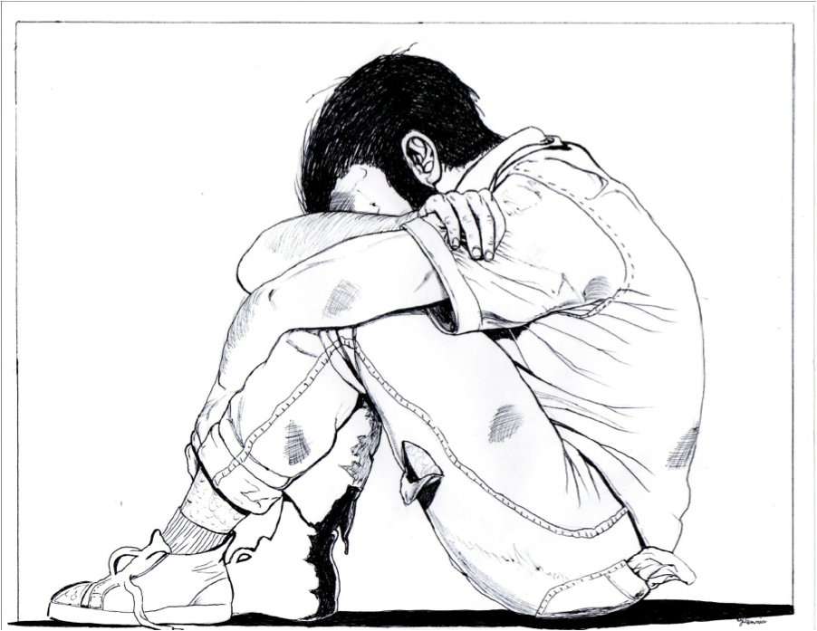 902x697 Homeless Man Crying Drawing Sketch Coloring Page