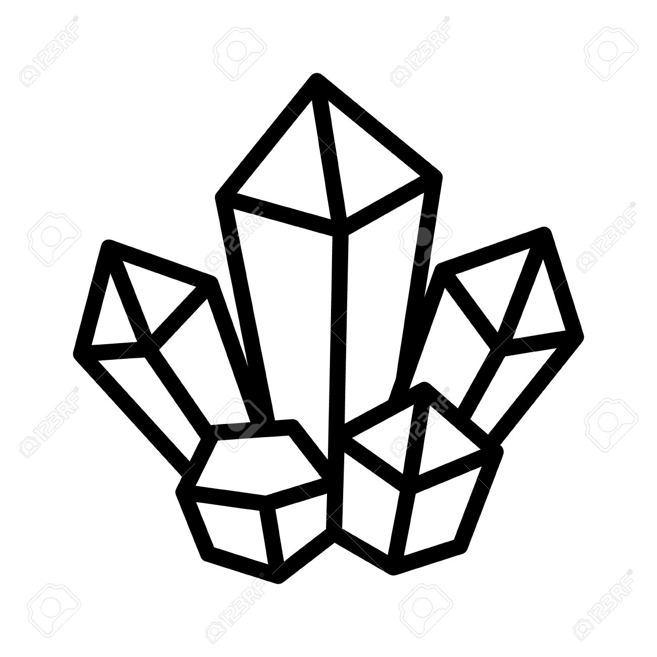 1300x1300 Magic Crystal Cluster Line Art Icon For Games And Websites Royalty