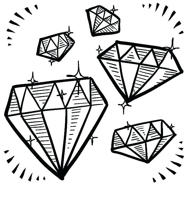 600x642 Diamond Coloring Page Plus Crystal Tattoo Crystal Drawing Diamond