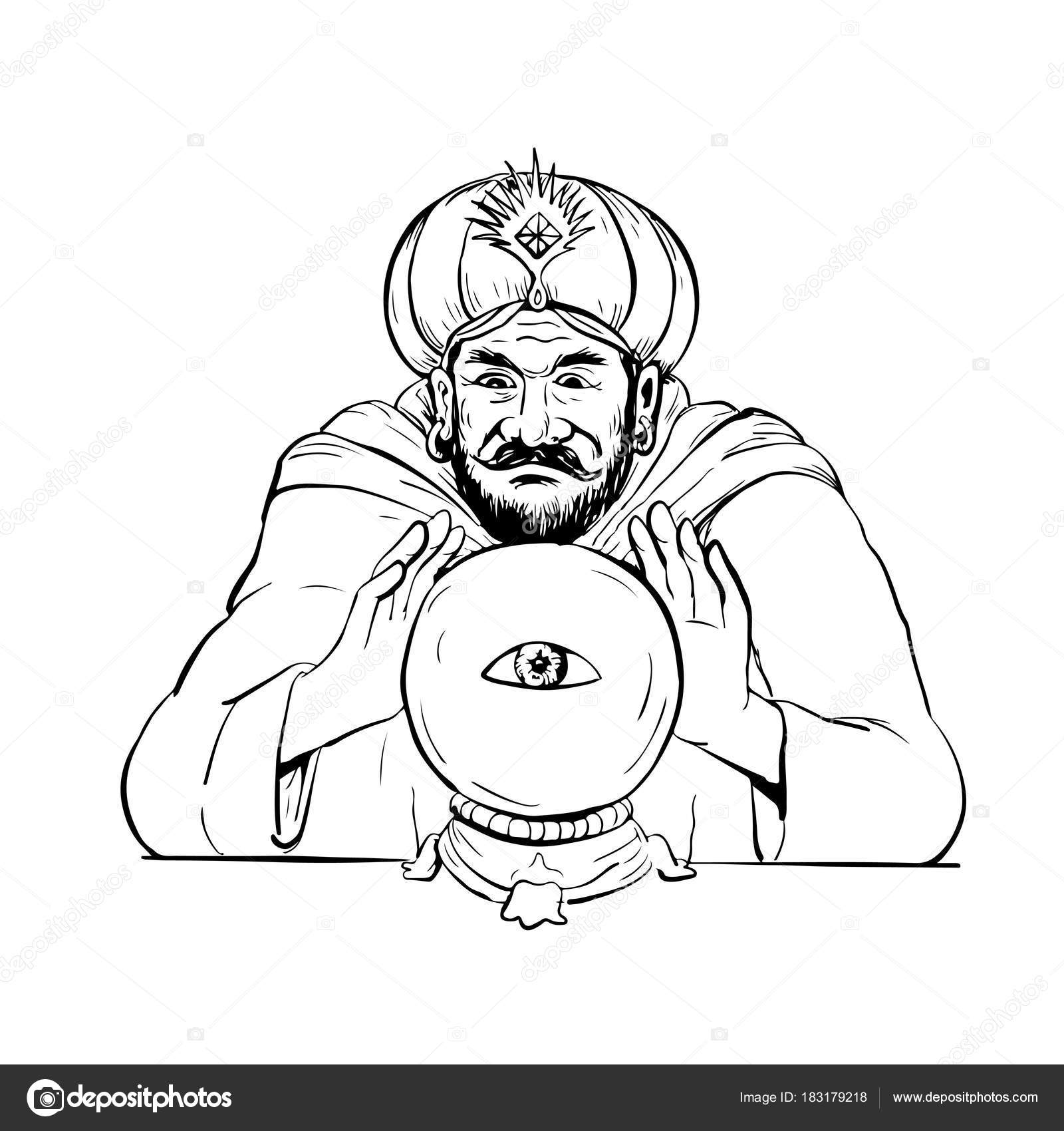 1600x1700 Fortune Teller Crystal Ball Drawing Stock Vector Patrimonio