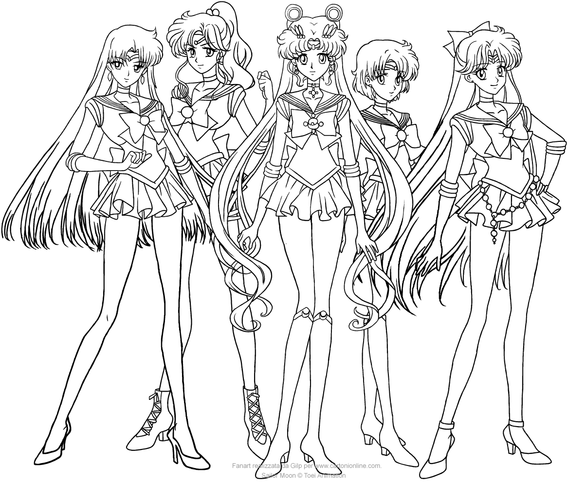 1167x992 Sailor Moon Crystal group coloring pages