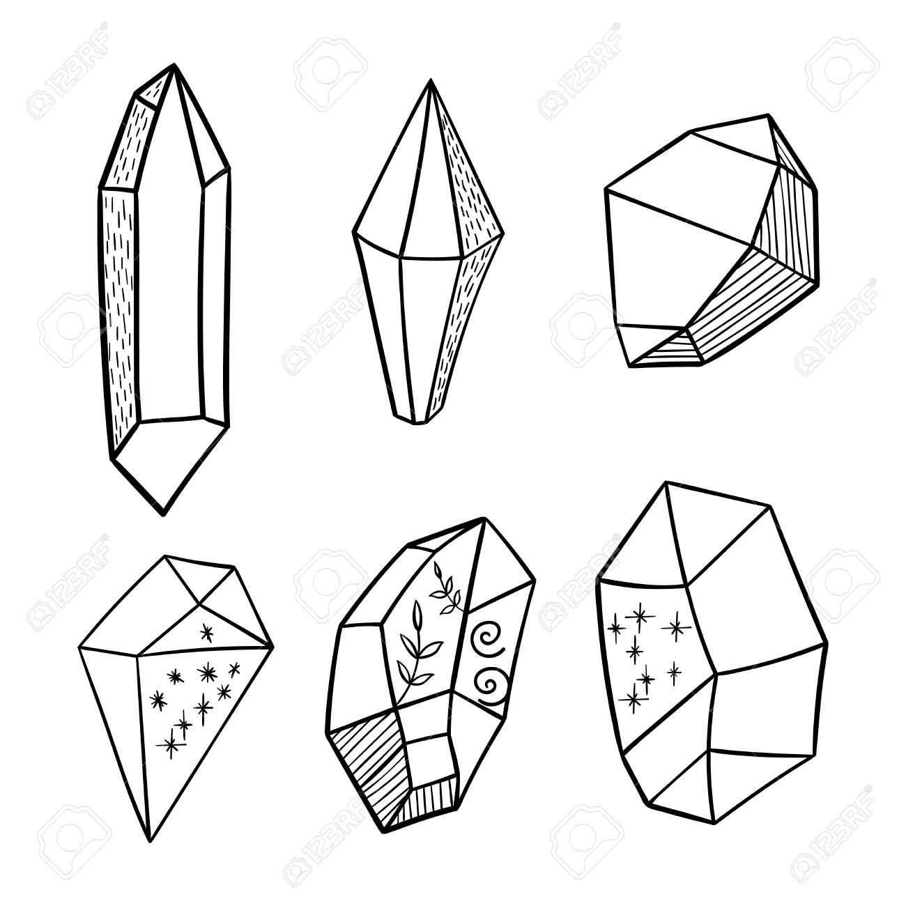 1300x1300 Vector Hand Drawn Boho Crystal Elements Royalty Free Cliparts