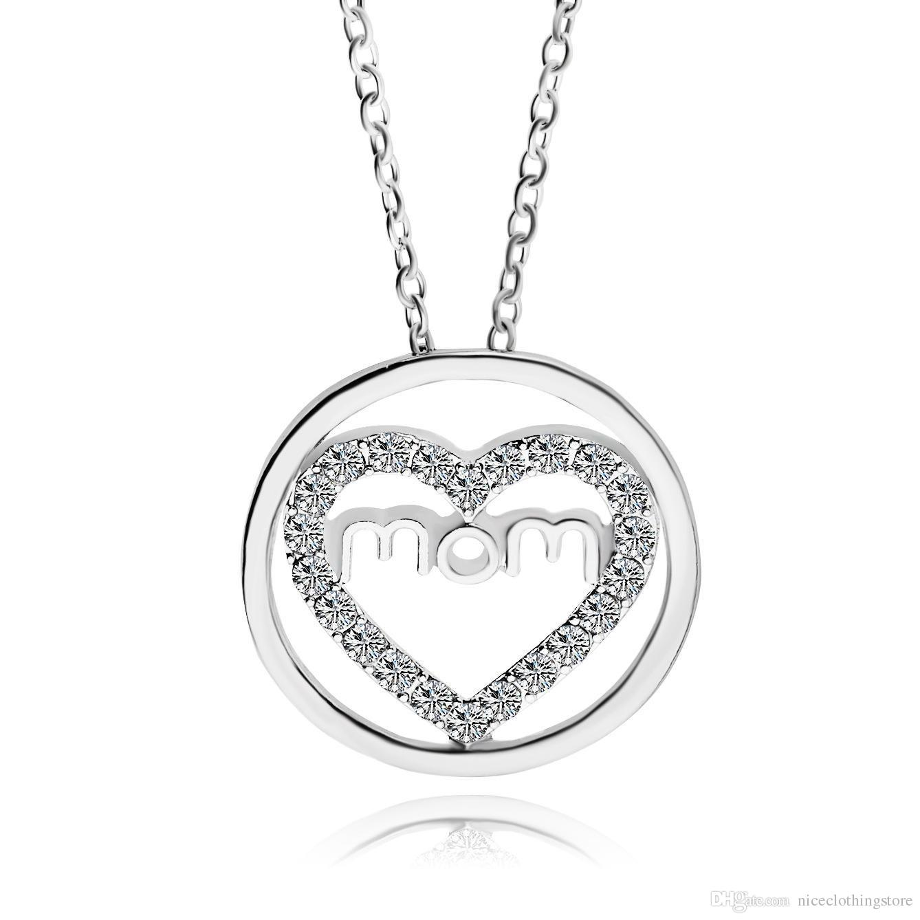 1338x1338 Wholesale Crystal Heart Mom Necklace Silver Plated Guardian Mother