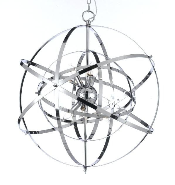 597x630 Chrome Orb Chandelier Inspiring Wrought With Crystal Sphere