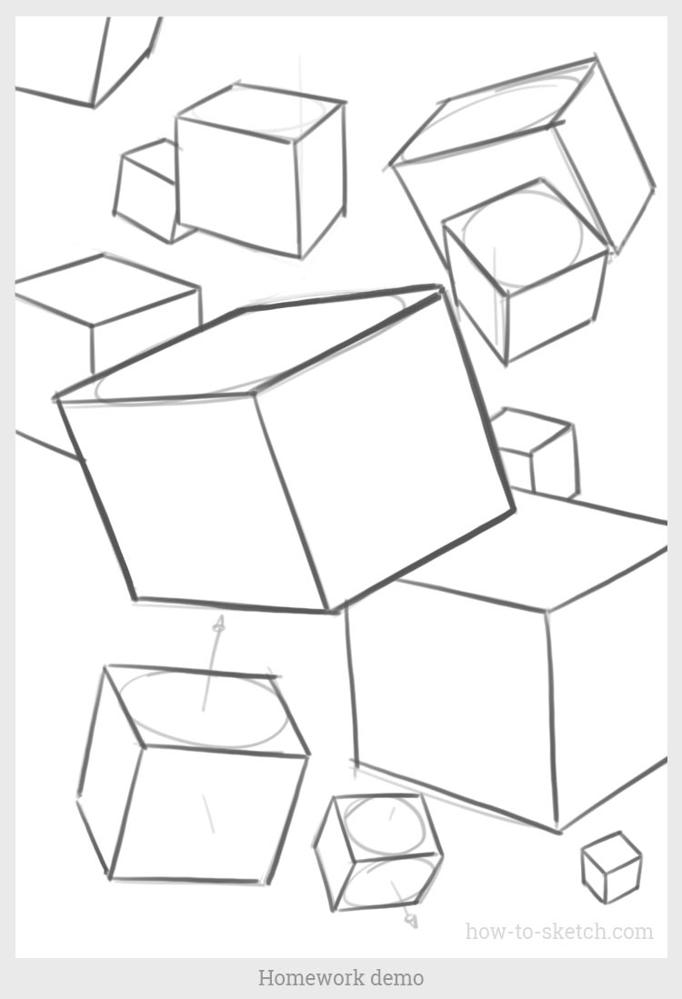 750x1099 How To Draw A Cube From Different Angles. Linear Perspective