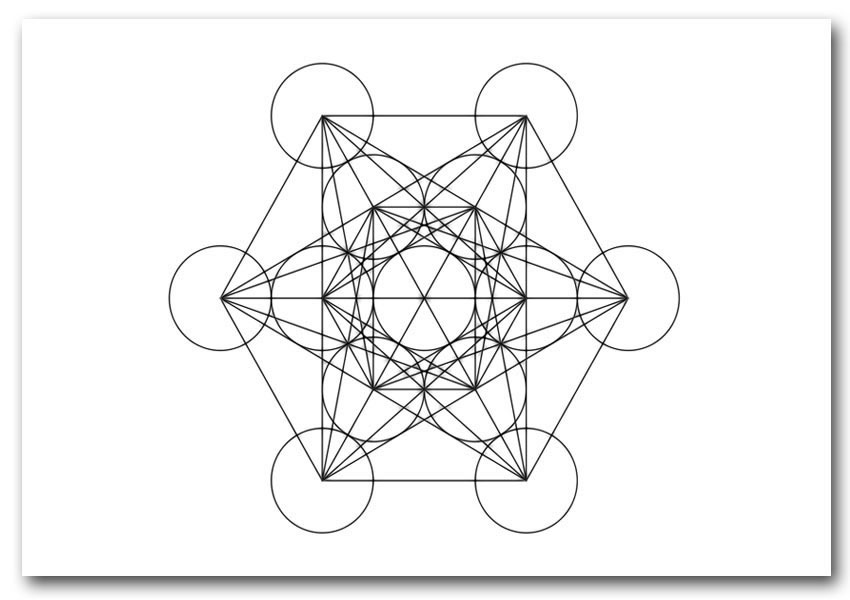 850x600 Metatrons Cube Drawing Ethnic Framed Art Giclee Art Print