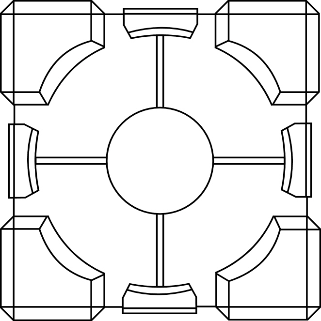 662x663 Portal Cube Lineart By Fortyfortytwo
